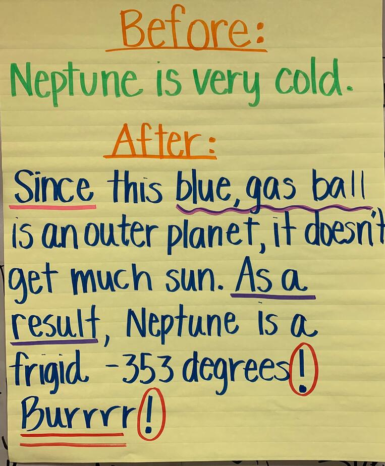 transitions, conjunctions, sentence starters, science