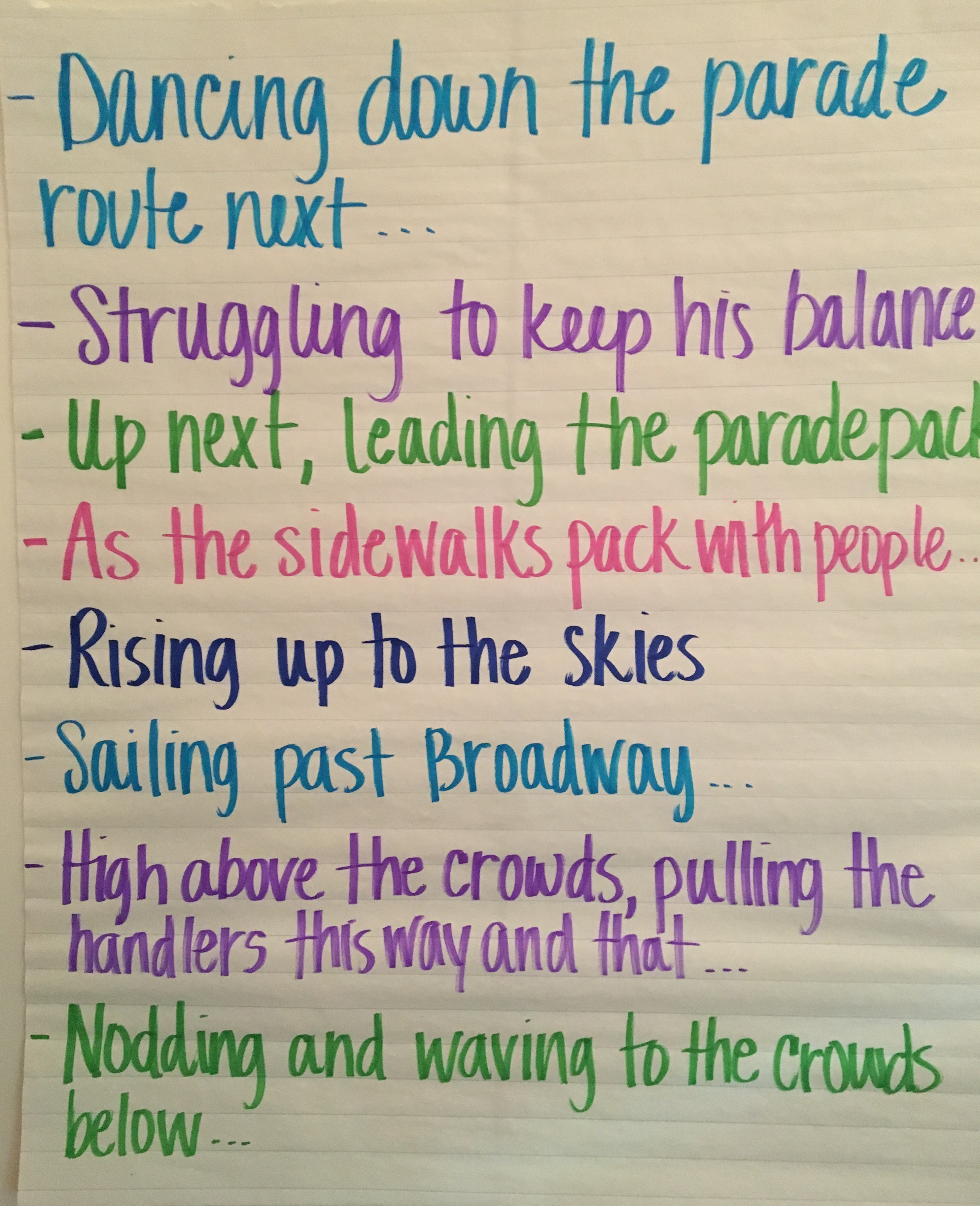 narrative, descriptive language, vocabulary, point of view/perspective, word referents, sentence starters