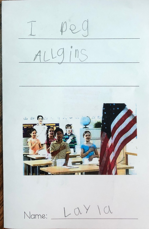 writing sample, Kindergarten, grade 1, literature, vocabulary