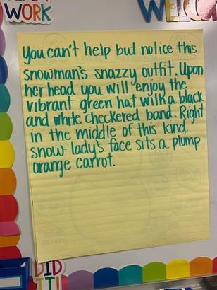 student sample, sentence starters, detail generating, descriptive segment, word referent