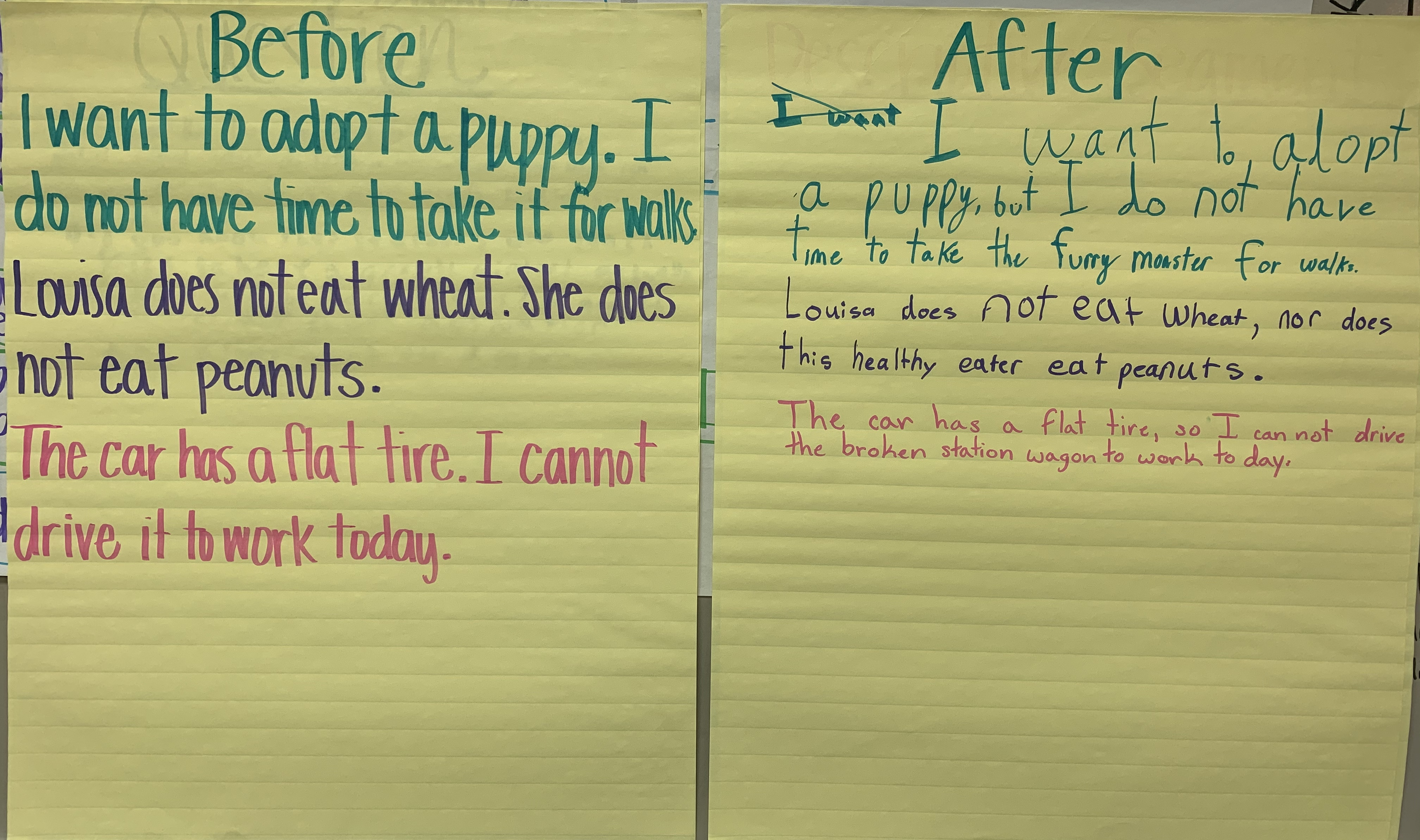 combining sentences, word referents, grammar, sample