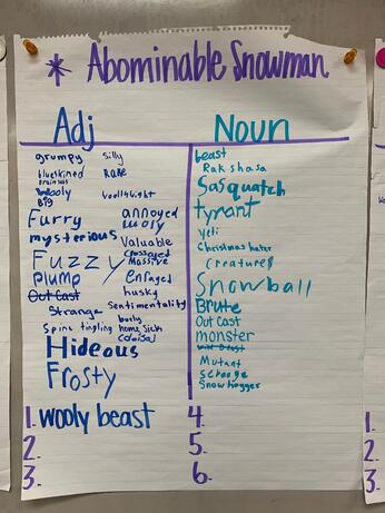 sentence variety, vocabulary, word referents, word choice, details