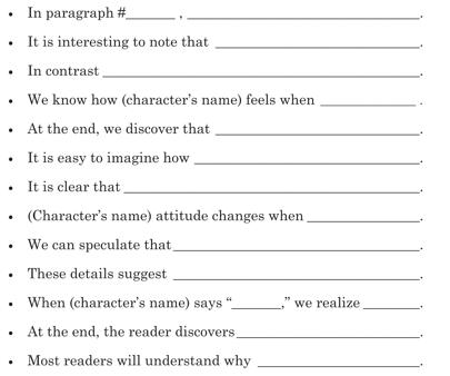 Literal, Inferential, Analytical, Sentence Starters, Grade 6, Grade 7, Grade 8,