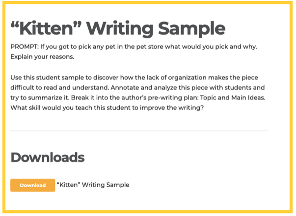 Opinion Writing - Student Sample List
